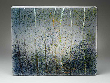 "Canyon Forest, 2015, 16"" x 20"" x 0.4"", kiln-formed glass"