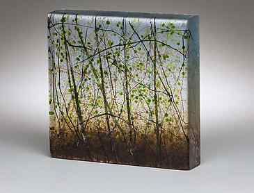 "Spring Forest, 2018, 6"" x 6"" x 1¼"", kiln-formed glass, SOLD"