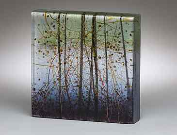 "Spring Inlet, 2018, 6"" x 6"" x 1¼"", kiln-formed glass"