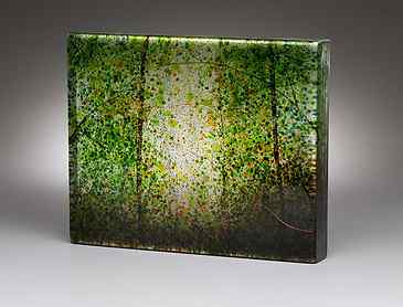 "Sunlight Through Spring Woods, 2018, 8"" x 10"" x 1¼"", kiln-formed glass"