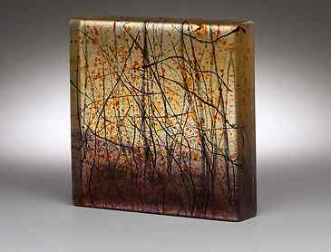 "Sunset Woods, 2018, 6"" x 6"" x 1¼"", kiln-formed glass"