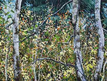 "Woodland Thicket, 2021, 36"" x 48"", acrylic on canvas"